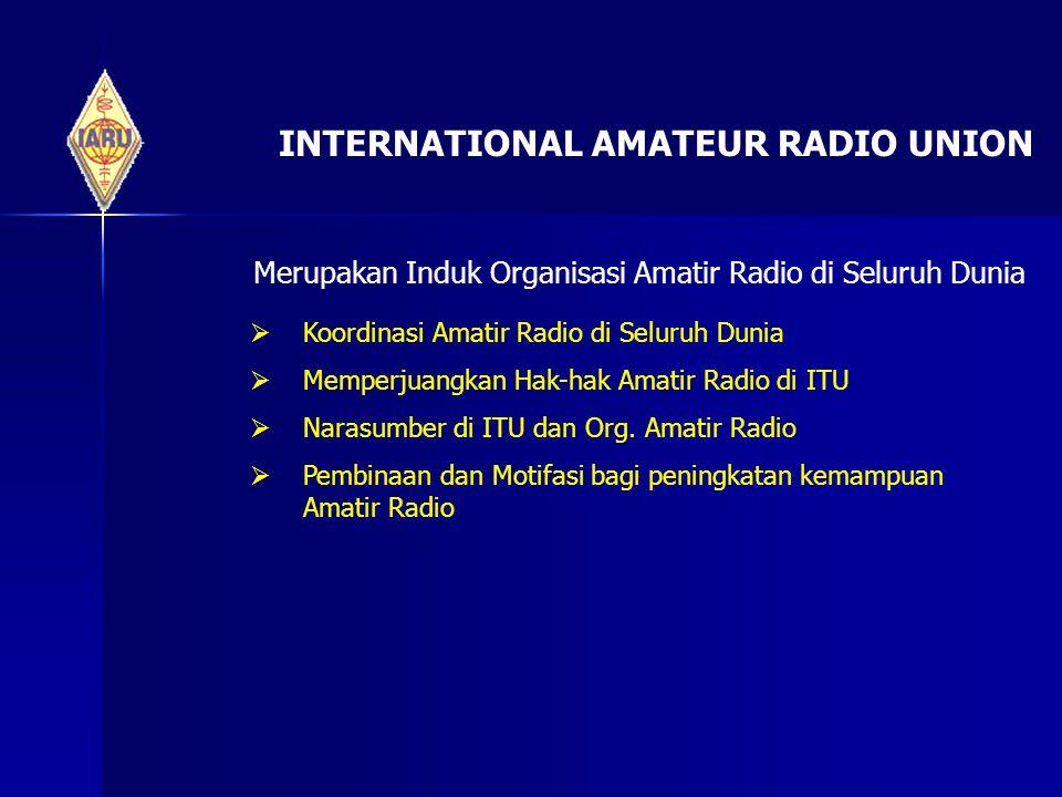 INTERNATIONAL AMATEUR RADIO UNION Merupakan Induk Organisasi Amatir Radio di Seluruh Dunia  Koordinasi Amatir Radio di Seluruh Dunia  Memperjuangkan