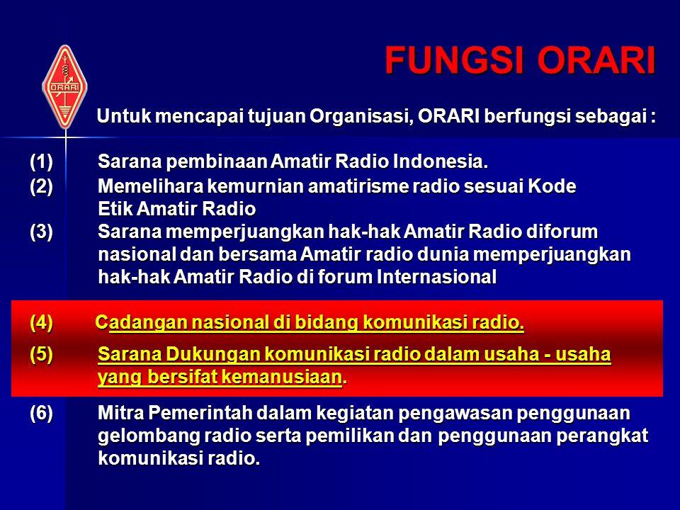 FUNGSI ORARI Untuk mencapai tujuan Organisasi, ORARI berfungsi sebagai : (1) Sarana pembinaan Amatir Radio Indonesia. (2) Memelihara kemurnian amatiri