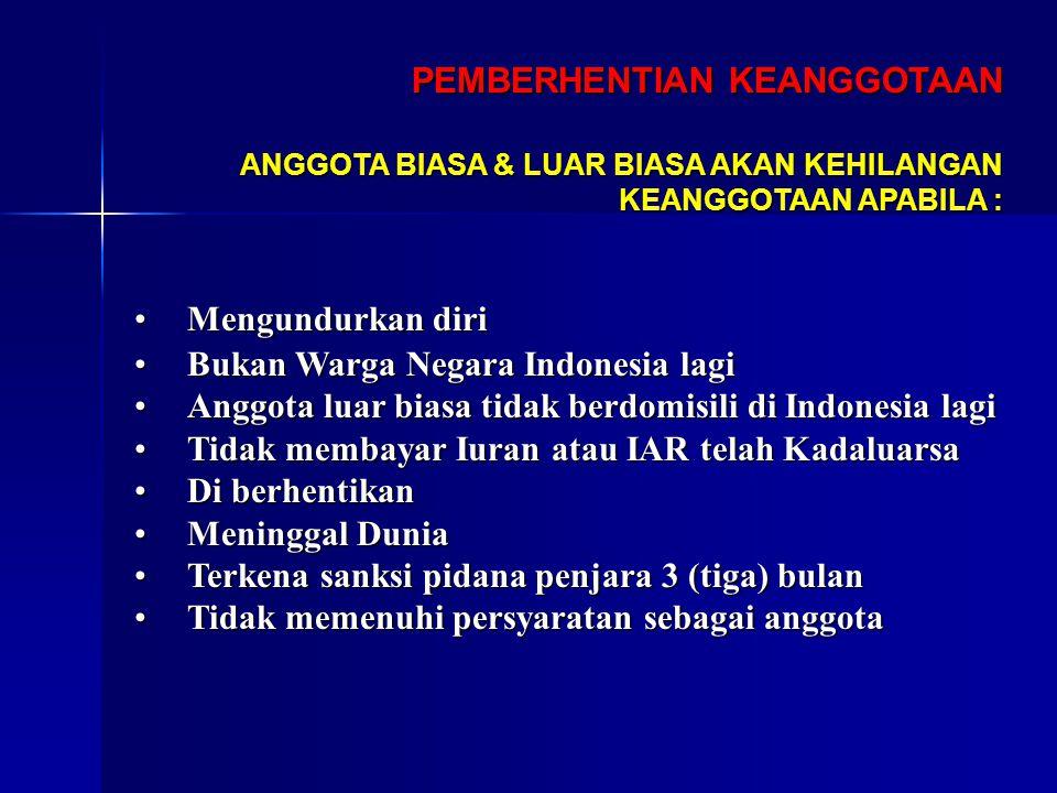 PEMBERHENTIAN KEANGGOTAAN MengundurkanMengundurkan diri BukanBukan Warga Negara Indonesia lagi AnggotaAnggota luar biasa tidak berdomisili di Indonesi