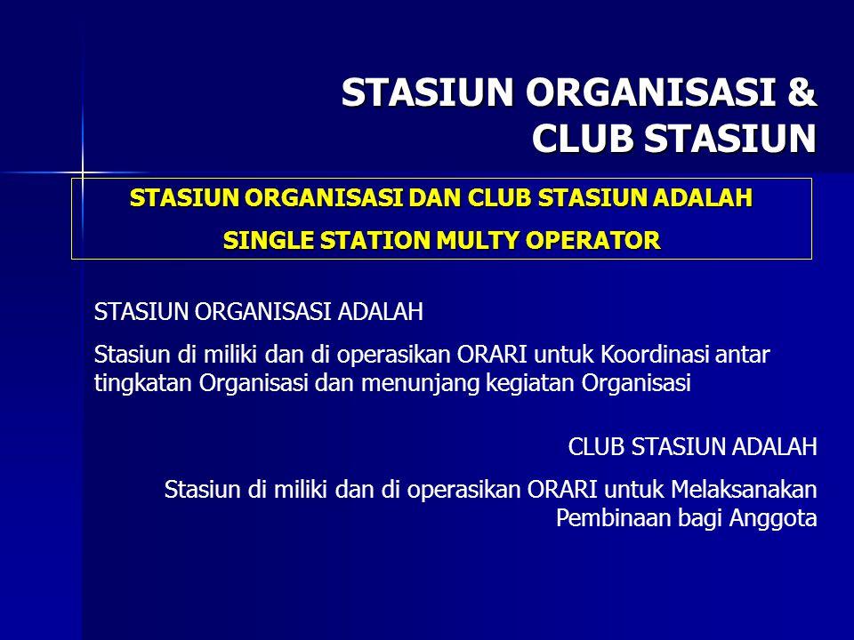 STASIUN ORGANISASI & CLUB STASIUN STASIUN ORGANISASI ADALAH Stasiun di miliki dan di operasikan ORARI untuk Koordinasi antar tingkatan Organisasi dan