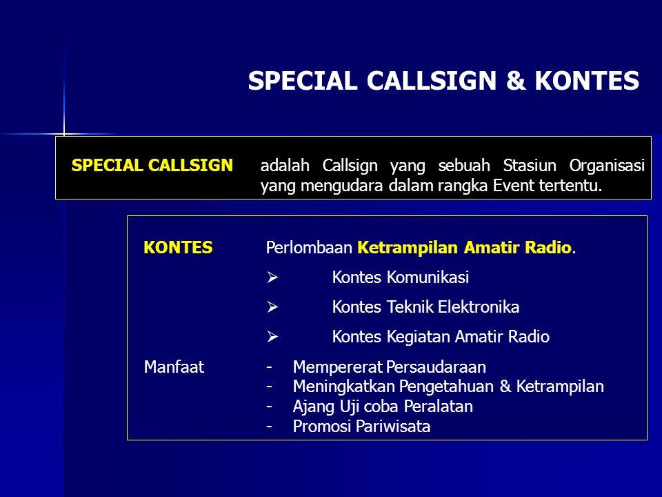 SPECIAL CALLSIGN & KONTES SPECIAL CALLSIGN adalah Callsign yang sebuah Stasiun Organisasi yang mengudara dalam rangka Event tertentu. KONTES KONTES Pe