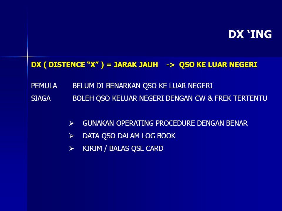 """DX 'ING DX ( DISTENCE """"X"""" ) = JARAK JAUH -> QSO KE LUAR NEGERI PEMULA BELUM DI BENARKAN QSO KE LUAR NEGERI SIAGA BOLEH QSO KELUAR NEGERI DENGAN CW & F"""