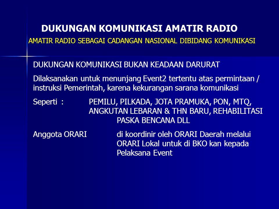 DUKUNGAN KOMUNIKASI AMATIR RADIO AMATIR RADIO SEBAGAI CADANGAN NASIONAL DIBIDANG KOMUNIKASI DUKUNGAN KOMUNIKASI BUKAN KEADAAN DARURAT Dilaksanakan unt