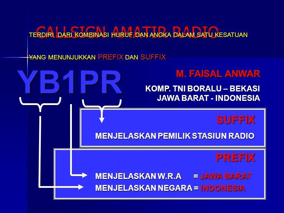 YB1PR CALLSIGN AMATIR RADIO MENJELASKAN NEGARA = INDONESIA MENJELASKAN W.R.A = JAWA BARAT MENJELASKAN PEMILIK STASIUN RADIO PREFIX SUFFIX M. FAISAL AN