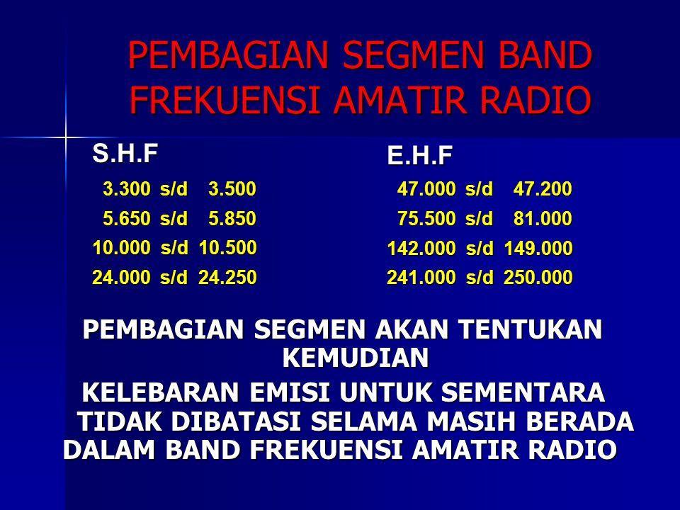 PEMBAGIAN SEGMEN BAND FREKUENSI AMATIR RADIO PEMBAGIAN SEGMEN AKAN TENTUKAN KEMUDIAN KELEBARAN EMISI UNTUK SEMENTARA TIDAK DIBATASI SELAMA MASIH BERAD