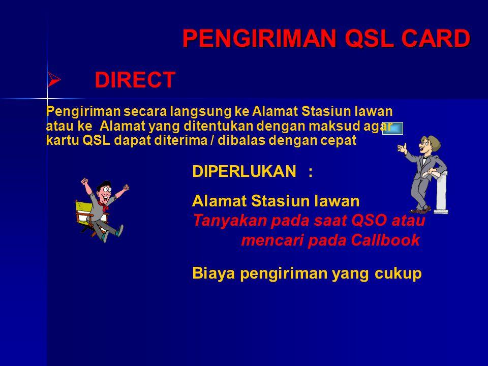 PENGIRIMAN QSL CARD  DIRECT DIPERLUKAN : Alamat Stasiun lawan Tanyakan pada saat QSO atau mencari pada Callbook Biaya pengiriman yang cukup Pengirima