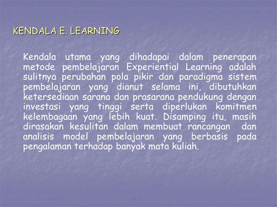 KENDALA E. LEARNING Kendala utama yang dihadapai dalam penerapan metode pembelajaran Experiential Learning adalah sulitnya perubahan pola pikir dan pa