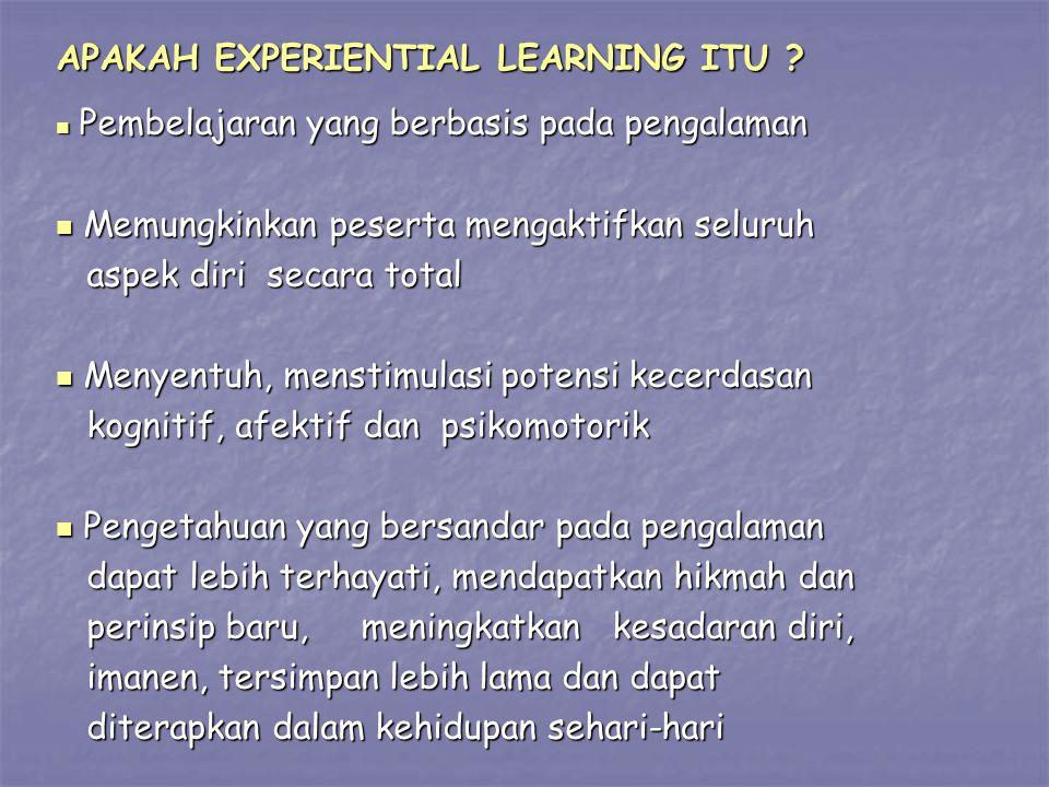 APAKAH EXPERIENTIAL LEARNING ITU ? Pembelajaran yang berbasis pada pengalaman Pembelajaran yang berbasis pada pengalaman Memungkinkan peserta mengakti