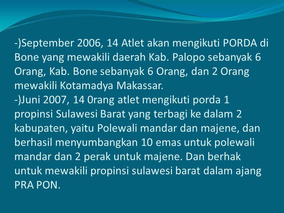 -)September 2006, 14 Atlet akan mengikuti PORDA di Bone yang mewakili daerah Kab. Palopo sebanyak 6 Orang, Kab. Bone sebanyak 6 Orang, dan 2 Orang mew