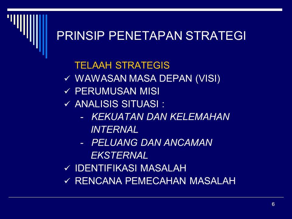 5 PENGEMBANGAN PENDIDIKAN TINGGI DI INDONESIA 1975 KEBIJAKSANAAN DASAR PENGEMBANGAN PENDIDIKAN TINGGI JANGKA PANJANG (KDPPT-JAPANG 1975) 11975-1985 KERANGKA PENGEMBANGAN PENDIDIKAN TINGGI JANGKA PANJANG I (KPPT-JP I) 11985-1995 KPPT-JP II 11995-2005 KPPT-JP III TELAAH STRATEGIS