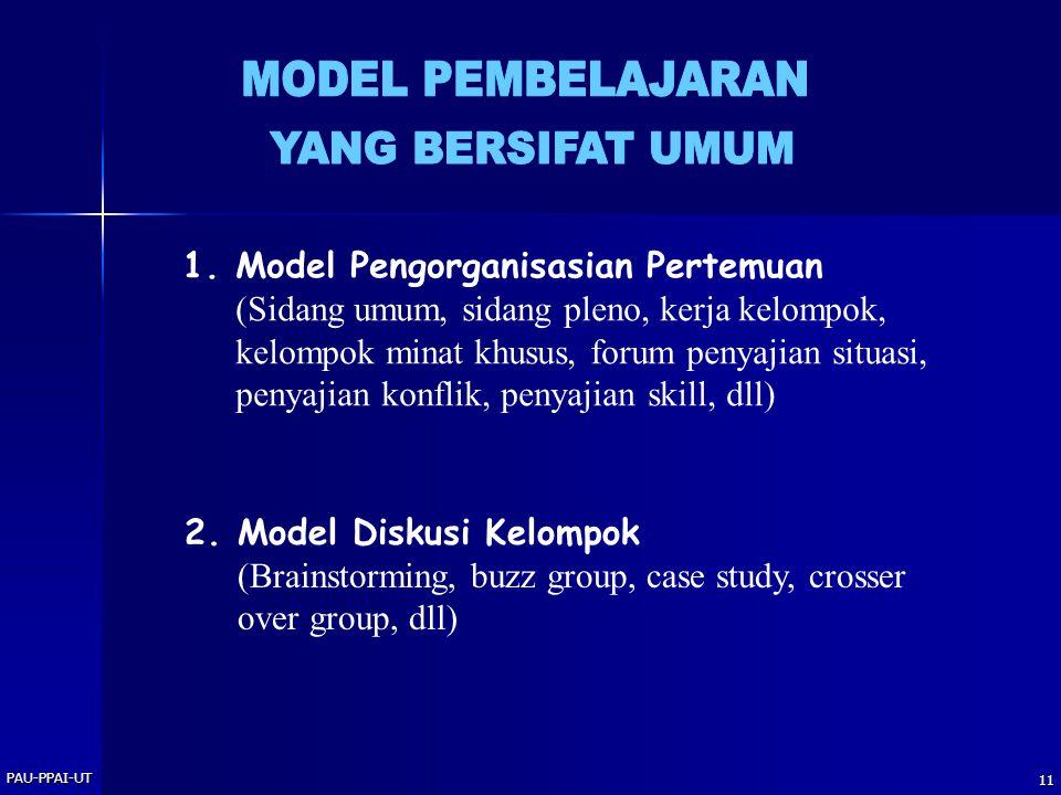 PAU-PPAI-UT 11 1.Model Pengorganisasian Pertemuan (Sidang umum, sidang pleno, kerja kelompok, kelompok minat khusus, forum penyajian situasi, penyajia