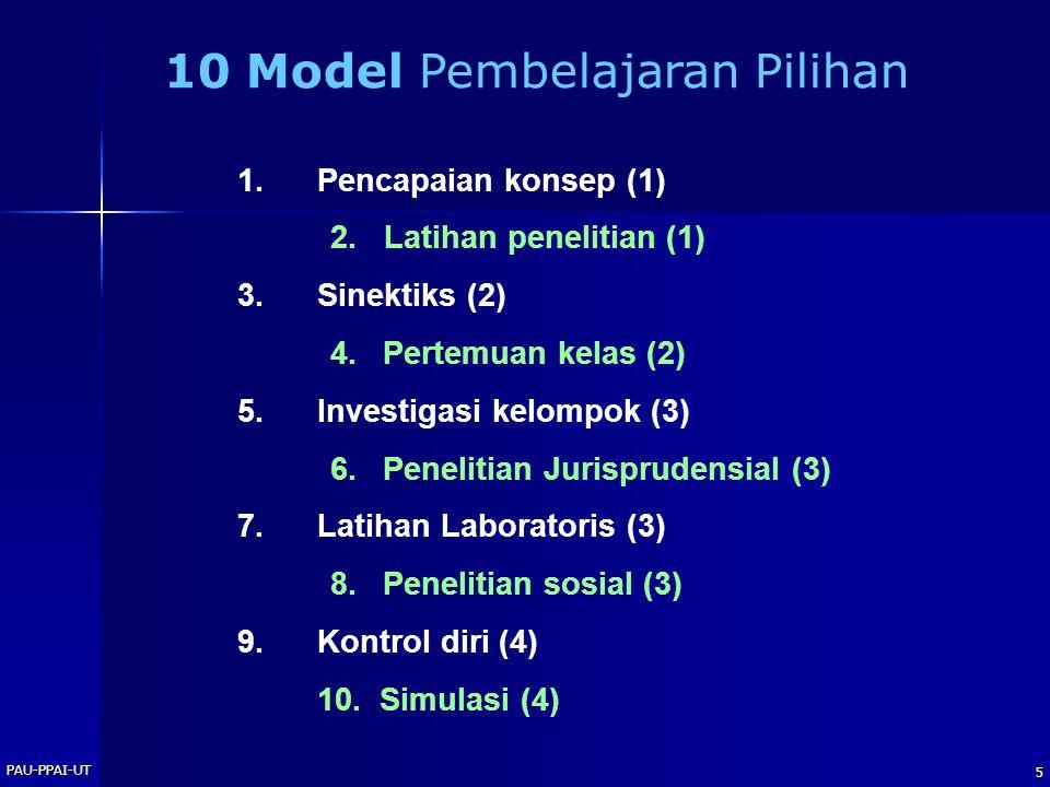 PAU-PPAI-UT 5 1.Pencapaian konsep (1) 2. Latihan penelitian (1) 3.Sinektiks (2) 4.Pertemuan kelas (2) 5.Investigasi kelompok (3) 6.Penelitian Jurispru