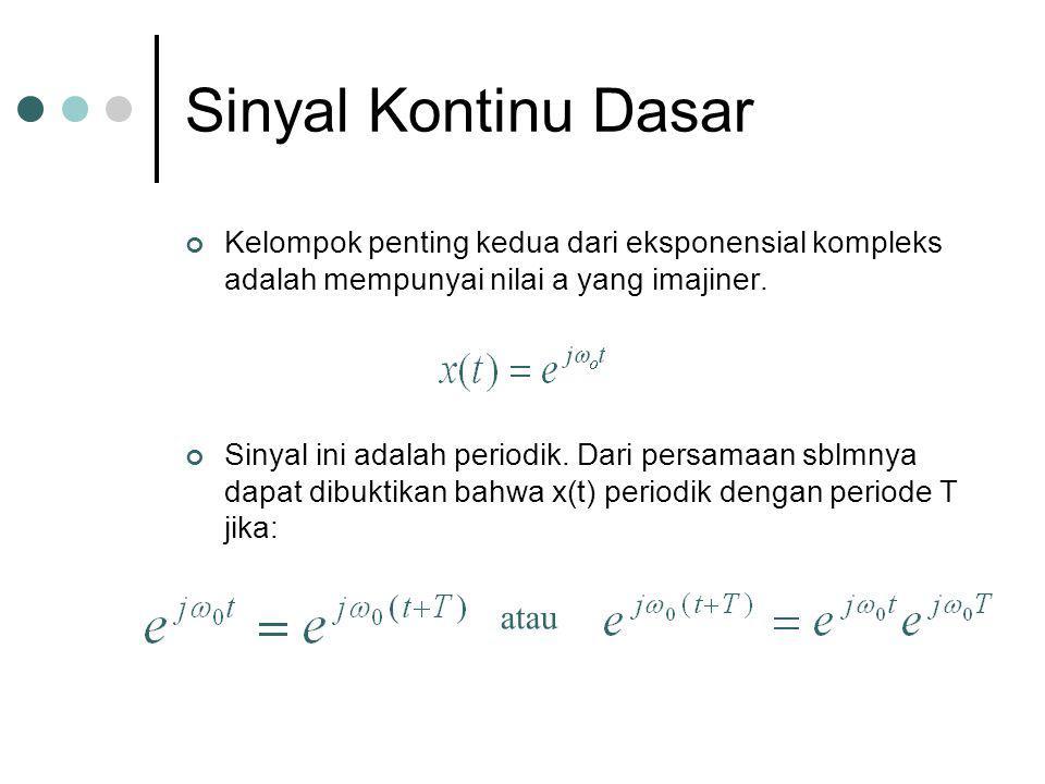 Sinyal Kontinu Dasar Kelompok penting kedua dari eksponensial kompleks adalah mempunyai nilai a yang imajiner. Sinyal ini adalah periodik. Dari persam
