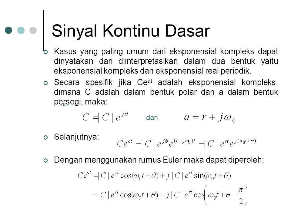 Sinyal Kontinu Dasar Kasus yang paling umum dari eksponensial kompleks dapat dinyatakan dan diinterpretasikan dalam dua bentuk yaitu eksponensial komp