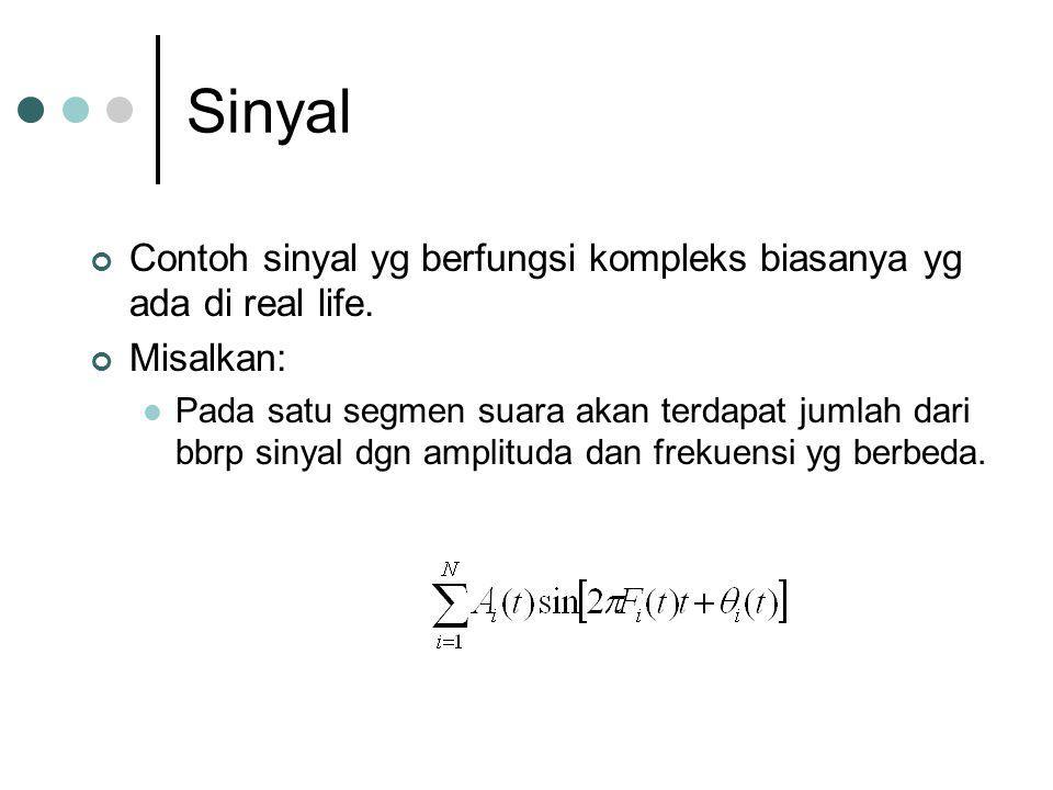 Sinyal Contoh sinyal yg berfungsi kompleks biasanya yg ada di real life. Misalkan: Pada satu segmen suara akan terdapat jumlah dari bbrp sinyal dgn am