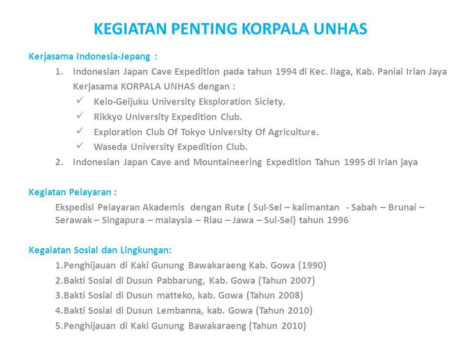 Kerjasama Indonesia-Jepang : 1.Indonesian Japan Cave Expedition pada tahun 1994 di Kec. Ilaga, Kab. Paniai Irian Jaya Kerjasama KORPALA UNHAS dengan :