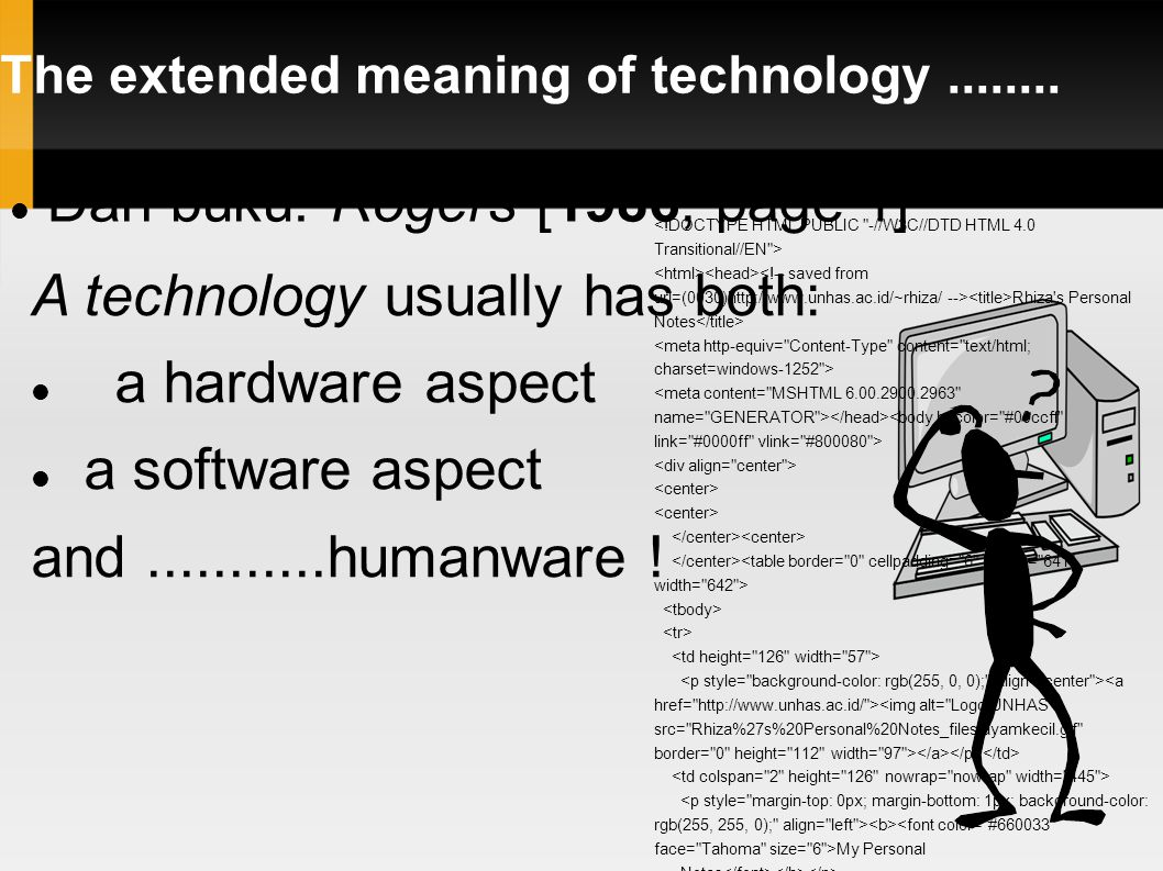 The extended meaning of technology........Contoh lain: PENGUASAAN TEKNOLOGI ???.