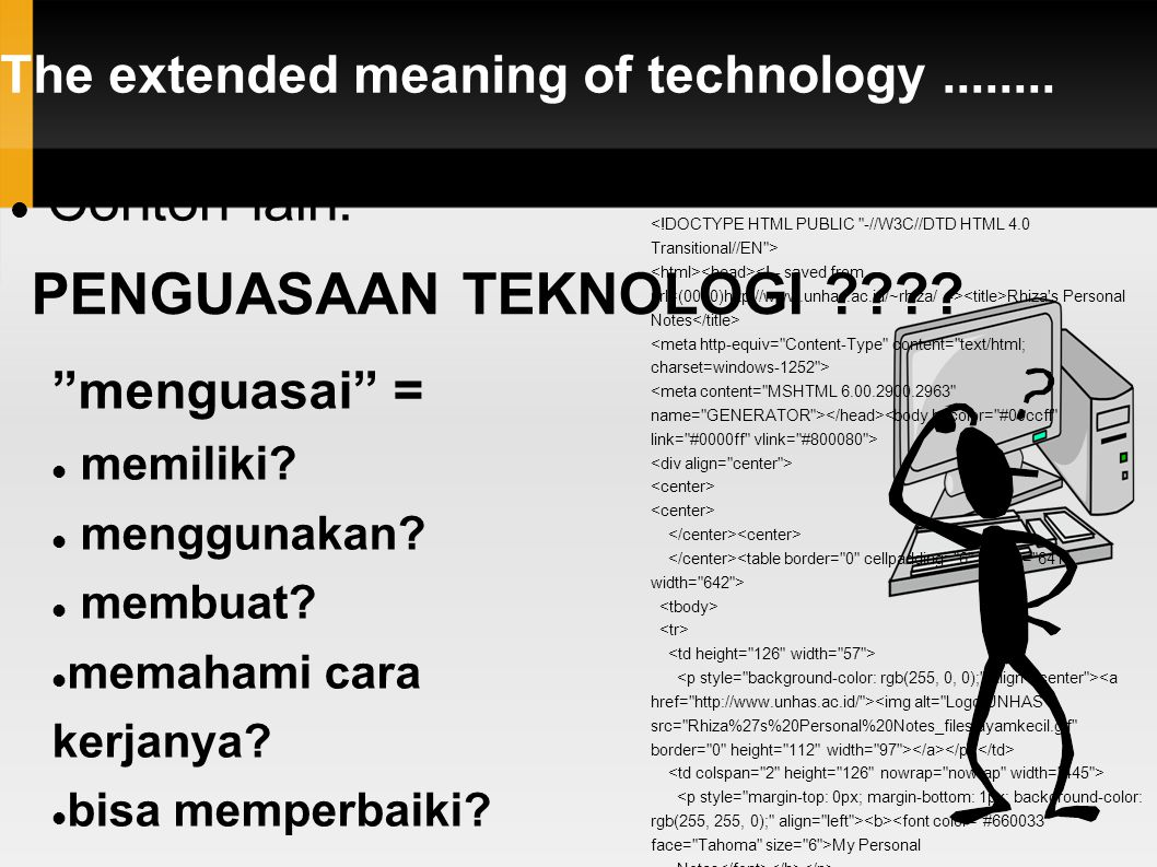 "The extended meaning of technology........ Contoh lain: PENGUASAAN TEKNOLOGI ???? Rhiza's Personal Notes My Personal Notes ""menguasai"" = memiliki? men"