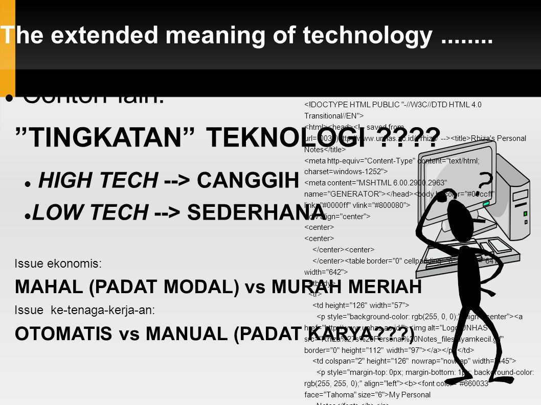 The extended meaning of technology........ Contoh lain: TINGKATAN TEKNOLOGI .