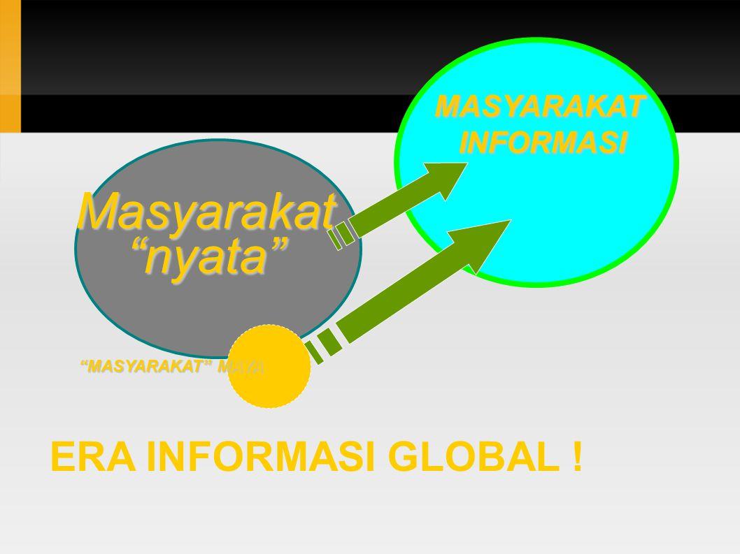 ERA INFORMASI GLOBAL ! Masyarakat nyata MASYARAKAT MAYA MASYARAKATINFORMASI
