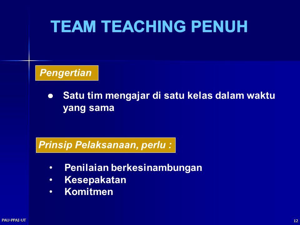 PAU-PPAI-UT 12 Satu tim mengajar di satu kelas dalam waktu yang sama Pengertian Prinsip Pelaksanaan, perlu : Penilaian berkesinambungan Kesepakatan Komitmen
