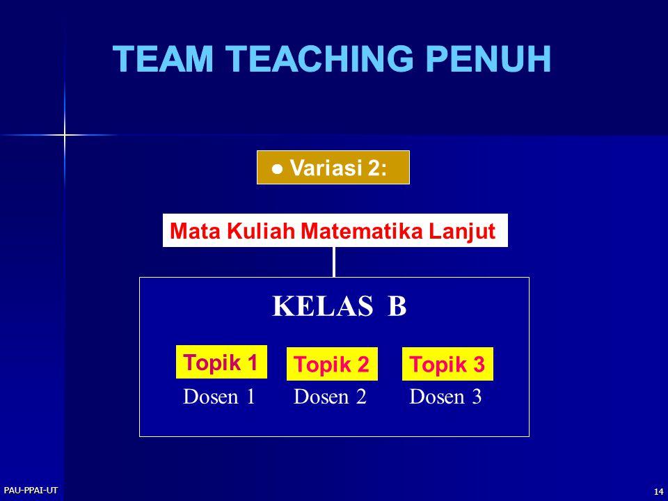 PAU-PPAI-UT 14 Variasi 2: Mata Kuliah Matematika Lanjut KELAS B Topik 1 Dosen 1 Topik 2 Dosen 2 Topik 3 Dosen 3