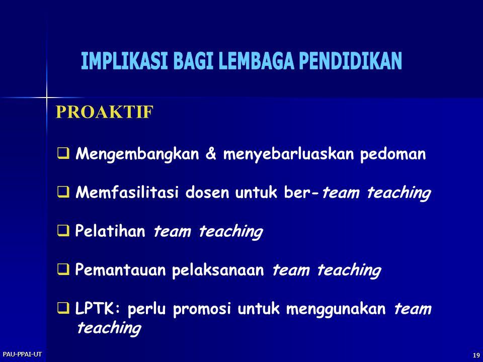 PAU-PPAI-UT 19 PROAKTIF  Mengembangkan & menyebarluaskan pedoman  Memfasilitasi dosen untuk ber-team teaching  Pelatihan team teaching  Pemantauan pelaksanaan team teaching  LPTK: perlu promosi untuk menggunakan team teaching