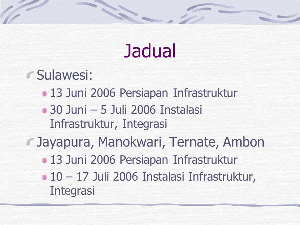 Jadual Sulawesi: 13 Juni 2006 Persiapan Infrastruktur 30 Juni – 5 Juli 2006 Instalasi Infrastruktur, Integrasi Jayapura, Manokwari, Ternate, Ambon 13