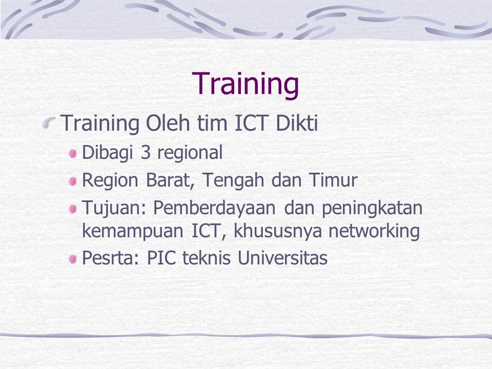 Training Training Oleh tim ICT Dikti Dibagi 3 regional Region Barat, Tengah dan Timur Tujuan: Pemberdayaan dan peningkatan kemampuan ICT, khususnya networking Pesrta: PIC teknis Universitas