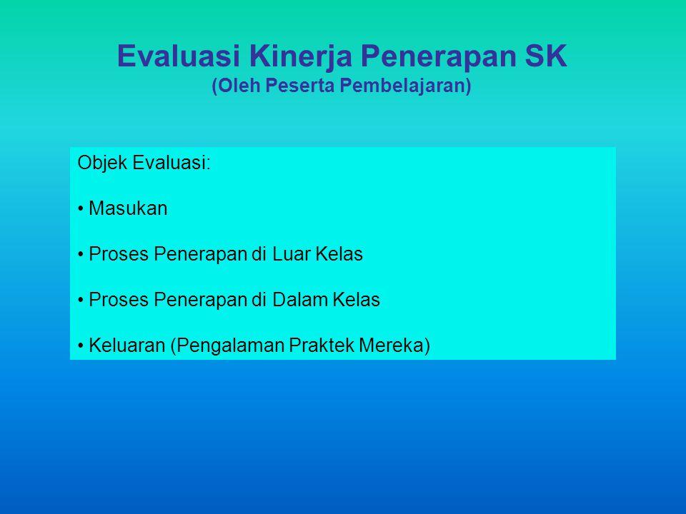 Evaluasi Kinerja Penerapan SK (Oleh Peserta Pembelajaran) Objek Evaluasi: Masukan Proses Penerapan di Luar Kelas Proses Penerapan di Dalam Kelas Kelua