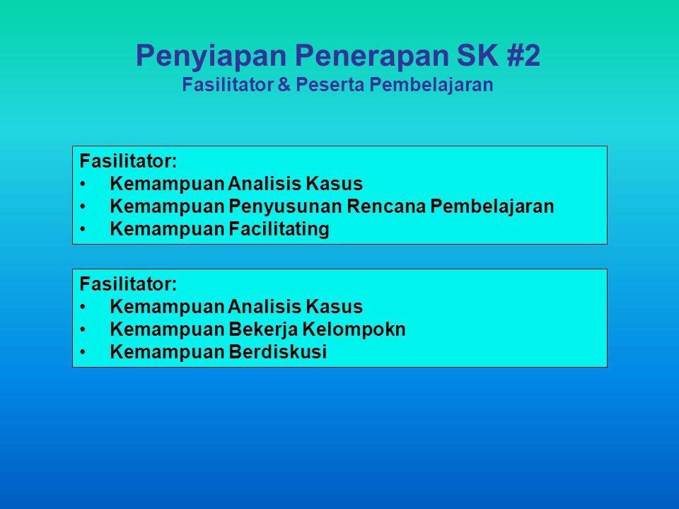 Penyiapan Penerapan SK #2 Fasilitator & Peserta Pembelajaran Fasilitator: Kemampuan Analisis Kasus Kemampuan Penyusunan Rencana Pembelajaran Kemampuan