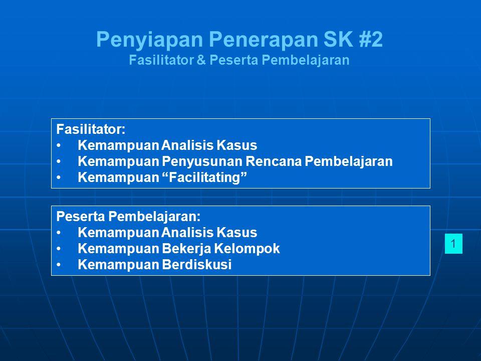 Penyiapan Penerapan SK #2 Fasilitator & Peserta Pembelajaran Fasilitator: Kemampuan Analisis Kasus Kemampuan Penyusunan Rencana Pembelajaran Kemampuan Facilitating Peserta Pembelajaran: Kemampuan Analisis Kasus Kemampuan Bekerja Kelompok Kemampuan Berdiskusi 1