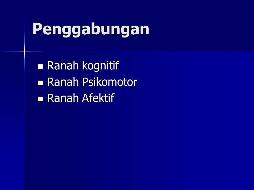 Penggabungan Ranah kognitif Ranah kognitif Ranah Psikomotor Ranah Psikomotor Ranah Afektif Ranah Afektif