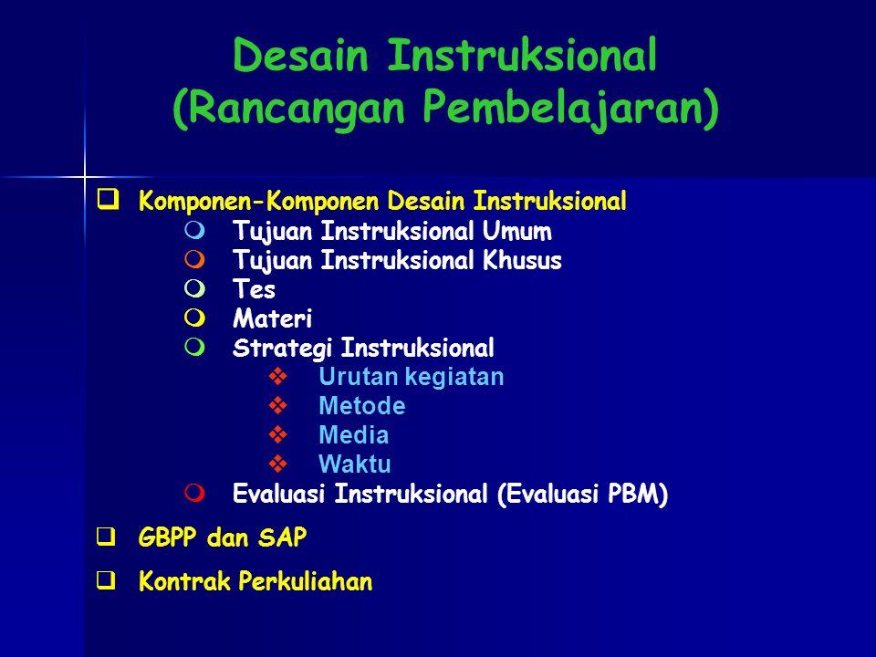  Komponen-Komponen Desain Instruksional  Tujuan Instruksional Umum  Tujuan Instruksional Khusus  Tes  Materi  Strategi Instruksional vUrutan kegiatan vMetode vMedia vWaktu  Evaluasi Instruksional (Evaluasi PBM)  GBPP dan SAP  Kontrak Perkuliahan Desain Instruksional (Rancangan Pembelajaran)