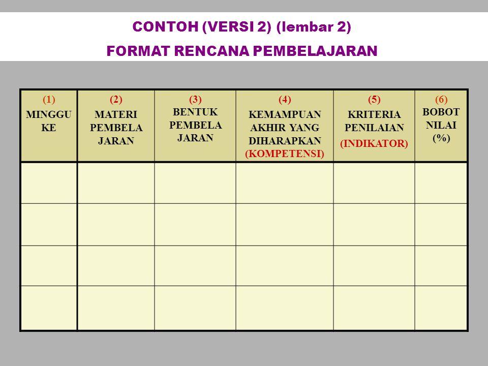 (1) MINGGU KE (2) MATERI PEMBELA JARAN (3) BENTUK PEMBELA JARAN (4) KEMAMPUAN AKHIR YANG DIHARAPKAN (KOMPETENSI) (5) KRITERIA PENILAIAN (INDIKATOR) (6