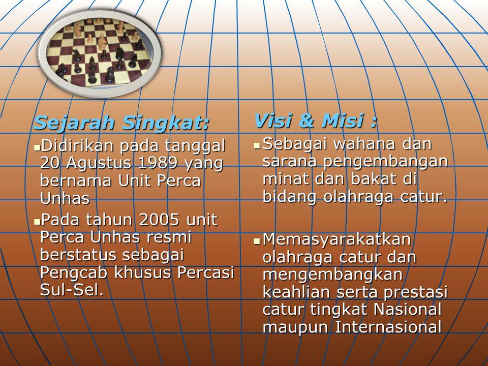 Sejarah Singkat: Didirikan pada tanggal 20 Agustus 1989 yang bernama Unit Perca Unhas Didirikan pada tanggal 20 Agustus 1989 yang bernama Unit Perca U