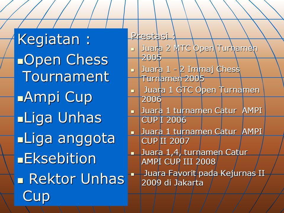 Kegiatan : Open Chess Tournament Open Chess Tournament Ampi Cup Ampi Cup Liga Unhas Liga Unhas Liga anggota Liga anggota Eksebition Eksebition Rektor