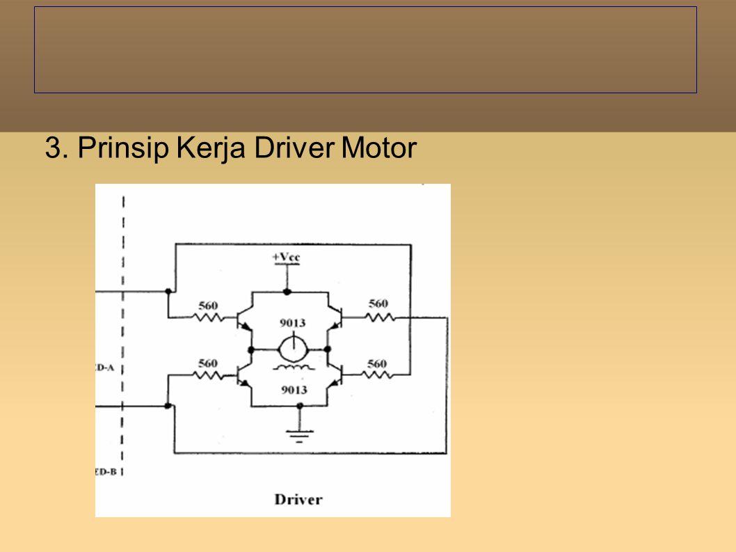Pada saat input A berlogika 1, maka ada arus yang mengalir pada rangkaian, akibatnya transistor 1 dan 4 on karena basis terbias, sehingga motor berputar.