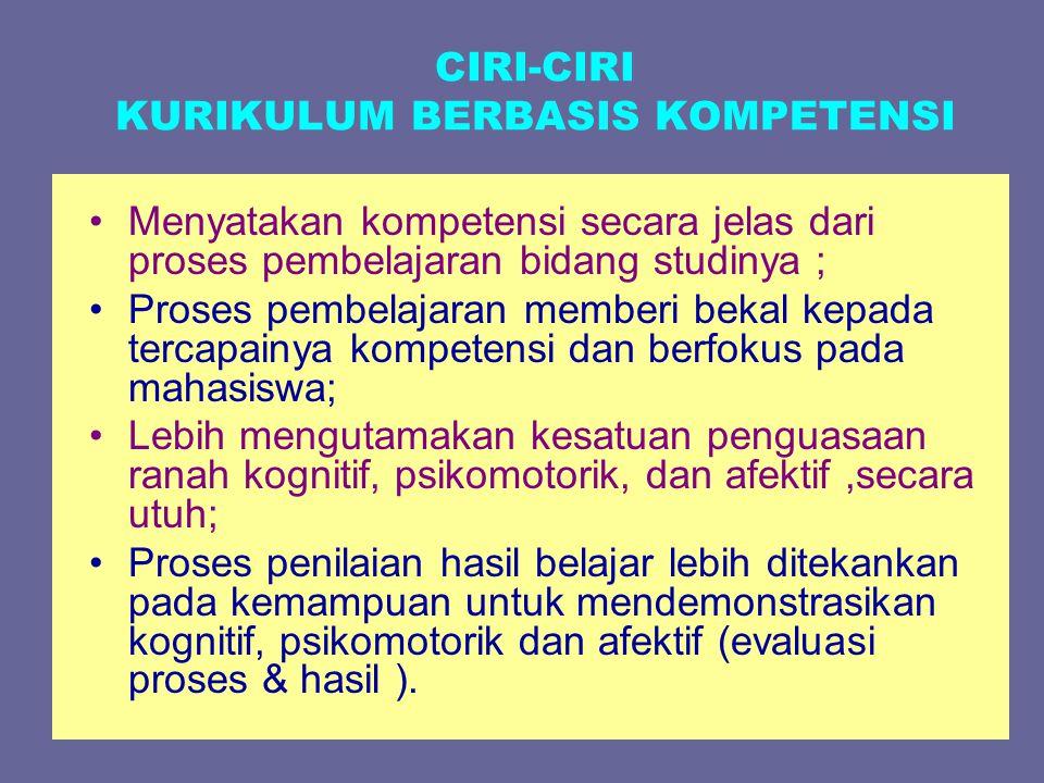 CIRI-CIRI KURIKULUM BERBASIS KOMPETENSI Menyatakan kompetensi secara jelas dari proses pembelajaran bidang studinya ; Proses pembelajaran memberi beka