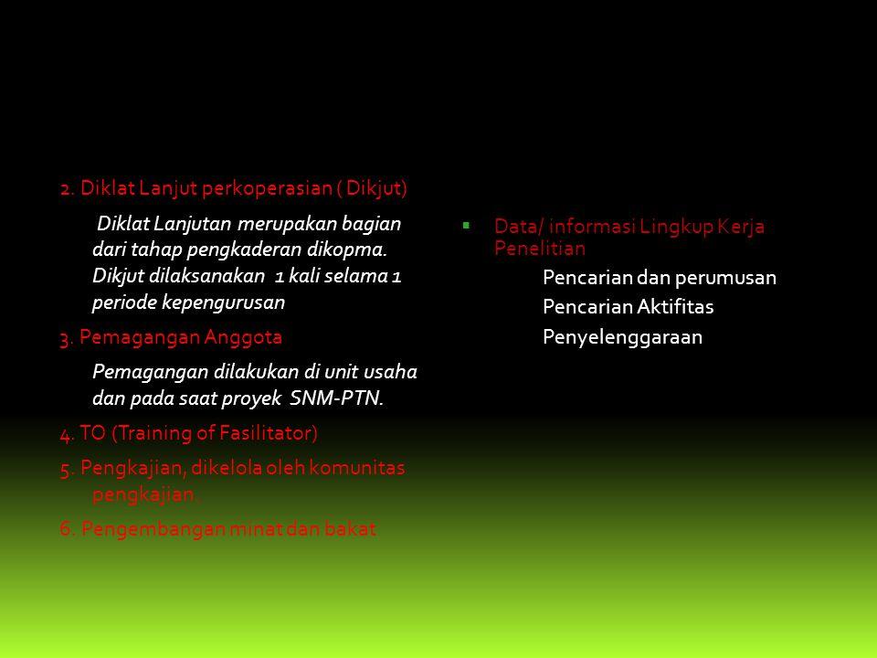 Bidang Litbang & PA(Pemberdayaan Anggota) Pendidikan dan latihan Diklat, dibantu oleh tim Leader 1.