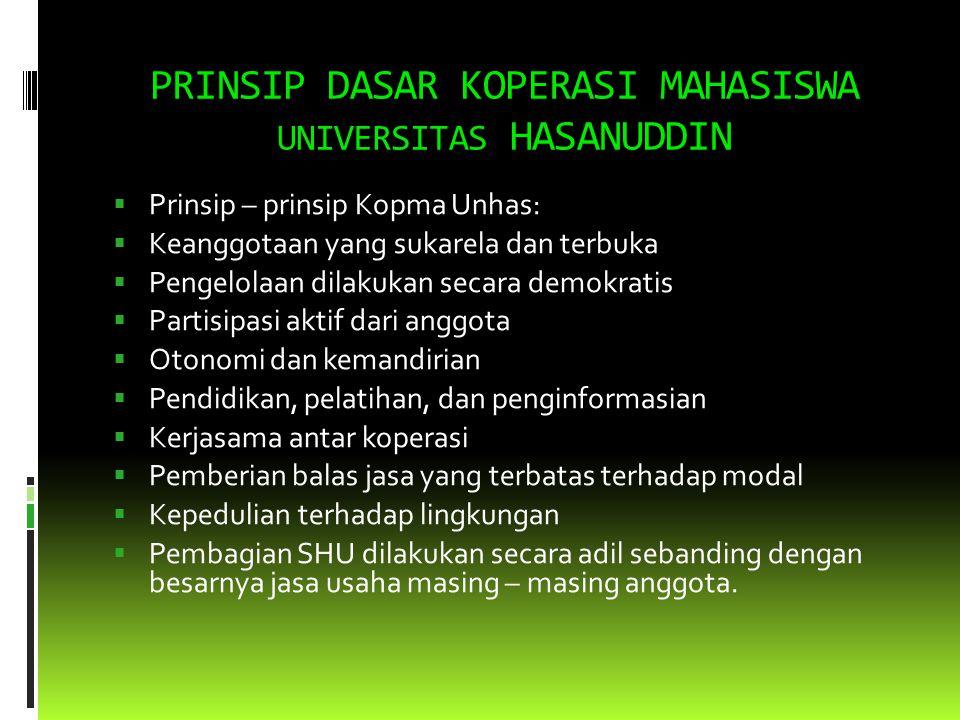 ASAS KOPERASI MAHASISWA UNIVERSITAS HASANUDDIN Asas Koperasi Mahasiswa Universitas Hasanuddin adalah Berasaskan kekeluargaan.