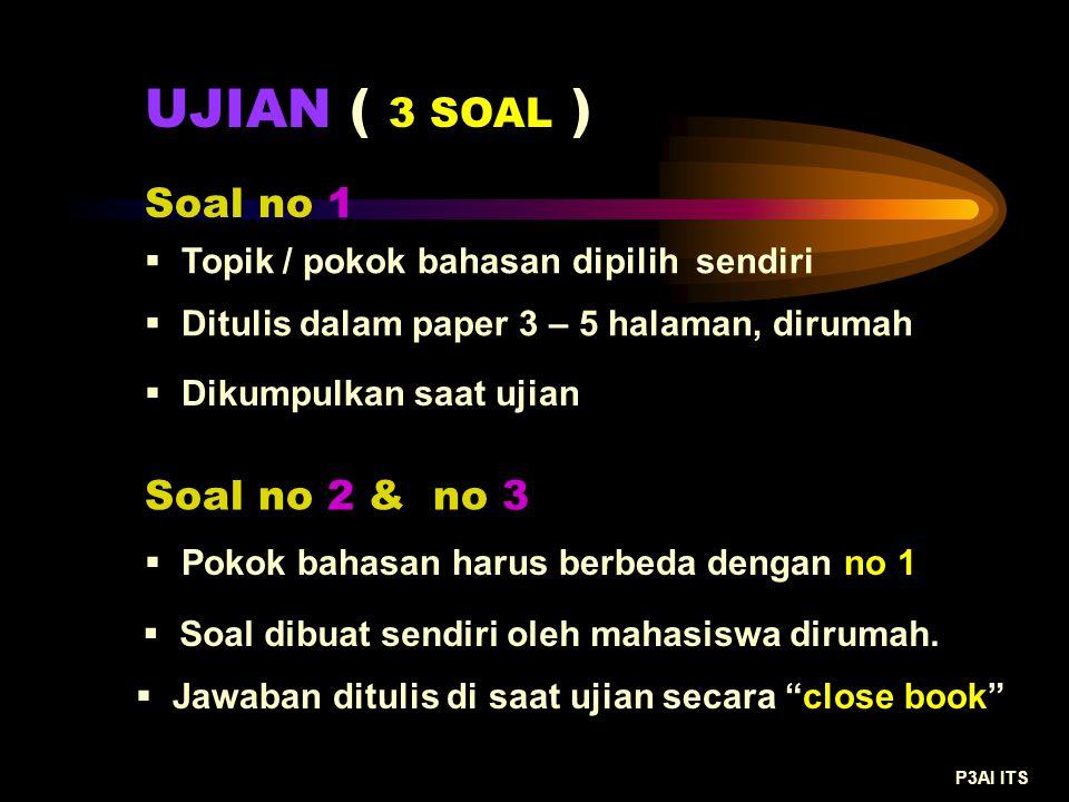 UJIAN ( 3 SOAL ) Soal no 1  Ditulis dalam paper 3 – 5 halaman, dirumah  Dikumpulkan saat ujian Soal no 2 & no 3 P3AI ITS  Topik / pokok bahasan dip