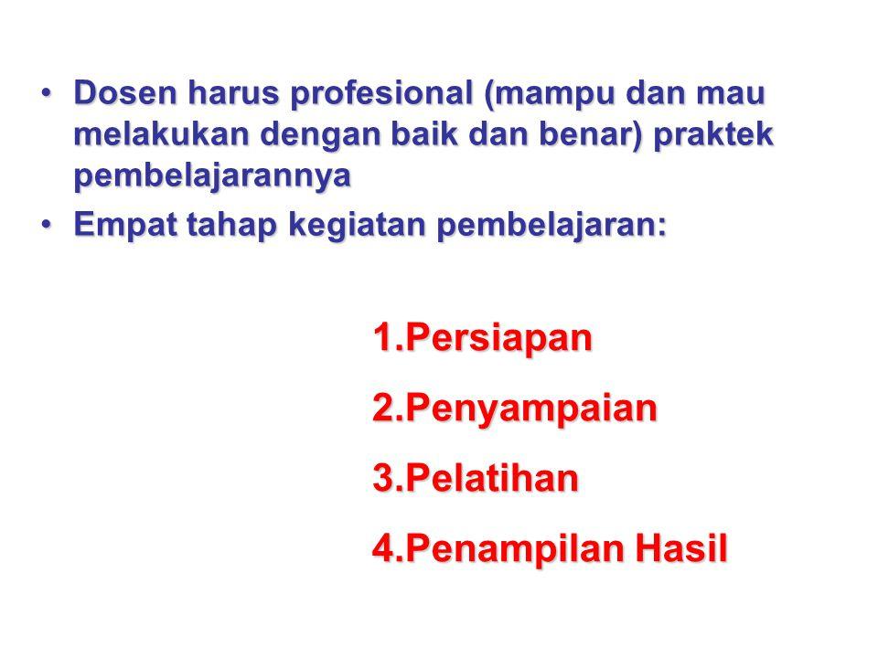 Dosen harus profesional (mampu dan mau melakukan dengan baik dan benar) praktek pembelajarannyaDosen harus profesional (mampu dan mau melakukan dengan