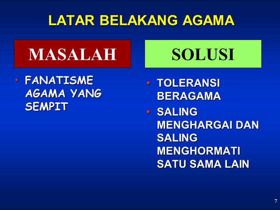 7 LATAR BELAKANG AGAMA FANATISME AGAMA YANG SEMPITFANATISME AGAMA YANG SEMPIT TOLERANSI BERAGAMATOLERANSI BERAGAMA SALING MENGHARGAI DAN SALING MENGHORMATI SATU SAMA LAINSALING MENGHARGAI DAN SALING MENGHORMATI SATU SAMA LAIN MASALAHSOLUSI