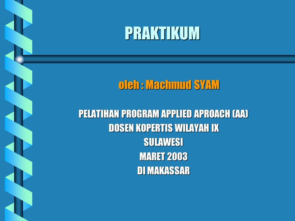 PRAKTIKUM oleh : Machmud SYAM PELATIHAN PROGRAM APPLIED APROACH (AA) DOSEN KOPERTIS WILAYAH IX SULAWESI MARET 2003 DI MAKASSAR