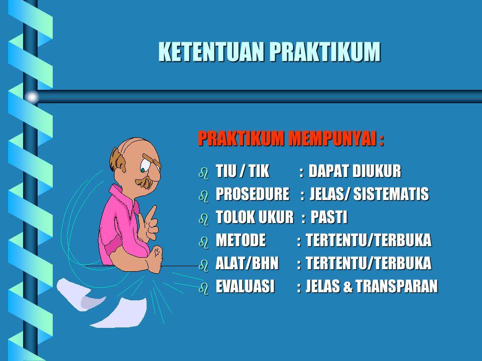 KETENTUAN PRAKTIKUM PRAKTIKUM MEMPUNYAI : b TIU / TIK : DAPAT DIUKUR b PROSEDURE : JELAS/ SISTEMATIS b TOLOK UKUR : PASTI b METODE : TERTENTU/TERBUKA b ALAT/BHN : TERTENTU/TERBUKA b EVALUASI : JELAS & TRANSPARAN