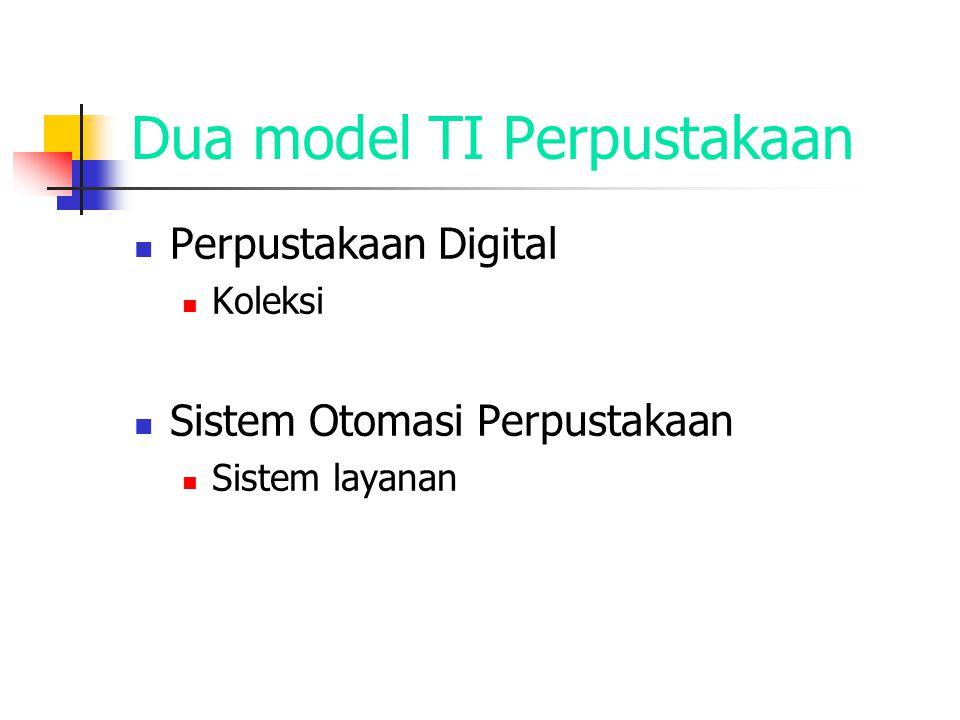 Dua model TI Perpustakaan Perpustakaan Digital Koleksi Sistem Otomasi Perpustakaan Sistem layanan