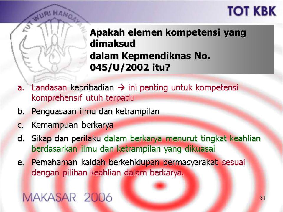 31 Apakah elemen kompetensi yang dimaksud dalam Kepmendiknas No. 045/U/2002 itu? a.Landasan kepribadian  ini penting untuk kompetensi komprehensif ut