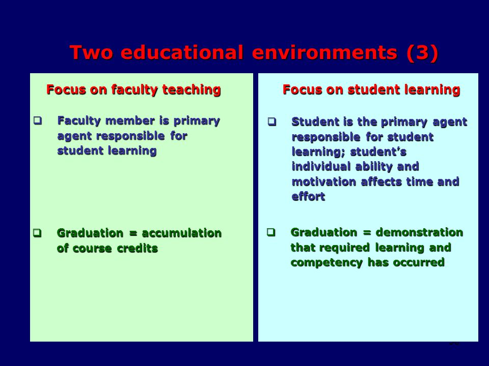 50 Two educational environments (3)  Faculty member is primary agent responsible for student learning Focus on faculty teaching Focus on student lear