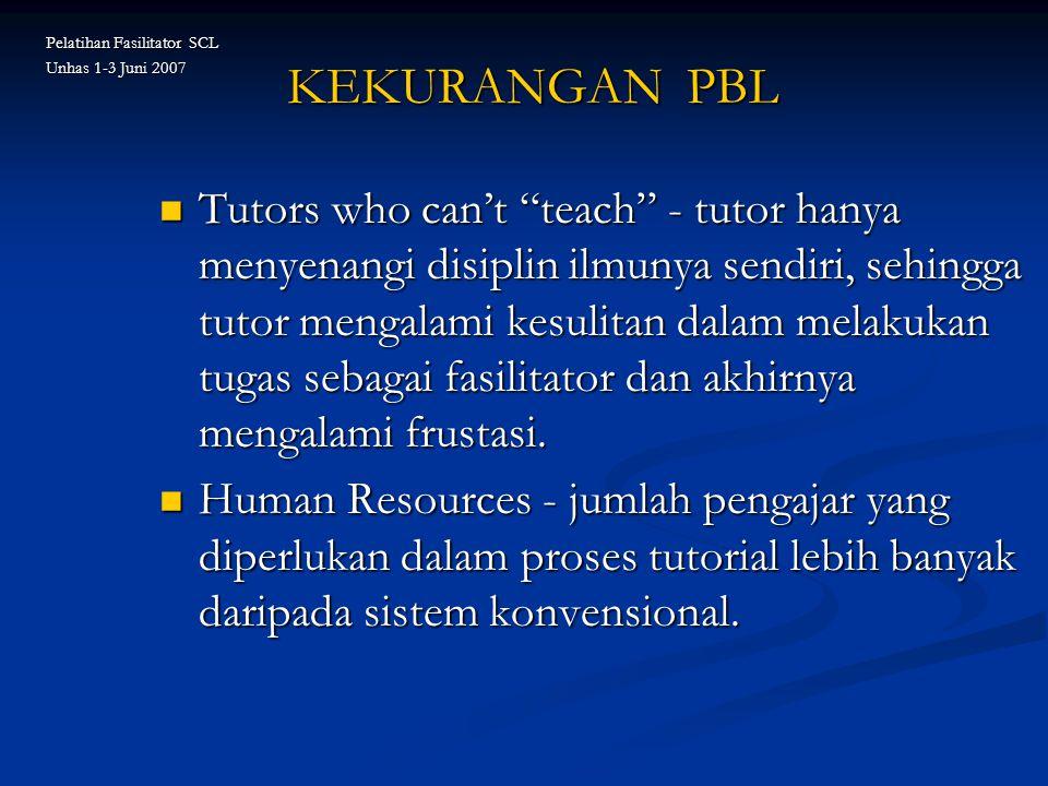 "KEKURANGAN PBL Tutors who can't ""teach"" - tutor hanya menyenangi disiplin ilmunya sendiri, sehingga tutor mengalami kesulitan dalam melakukan tugas se"